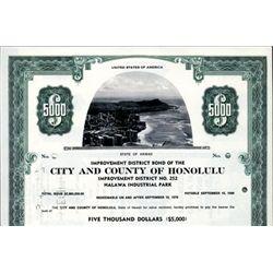 Hawaii. U.S. City and County of Honolulu Bonds.
