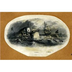U.S. Civil War Naval Vignettes of Monitor at Sea.