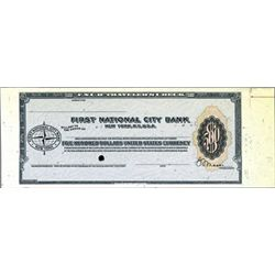 1st National City Bank Specimen Traveler's Checks
