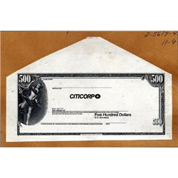NY. Citicorp Proof Traveler's Checks