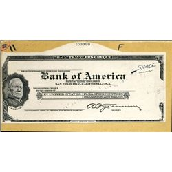 U.S. Traveler's Check Proofs From Various Banks.