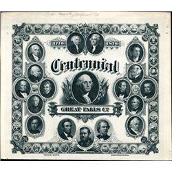 Centennial, Great Falls Co.-1776-1876 Trade Mark