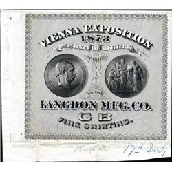 Langdon Mfg. Co. Advertising Textile Label Proof