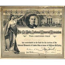 McKinley National Memorial Assoc. Printing Plate