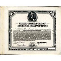 U.S. Third Liberty Loan $1,000 Proof Savings Bond