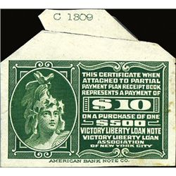 $10 Partial Payment of $500 Victory Liberty Loan