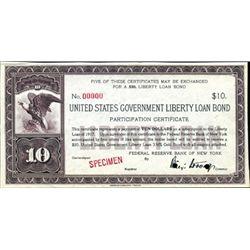 U.S. Liberty Loan Bond $10 Certificate - NY