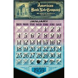 U.S. American Bank Note Co. Advertising Calendar.