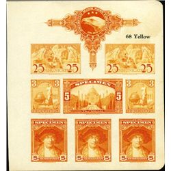 U.S. American BNC Color Sample Sheet With Stamps.