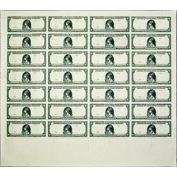 "U.S. ABNC ""10 Specimen Note"" Uncut Sheet of 28."