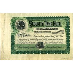 Security Bank Note Co. Advertising Stock Cert.