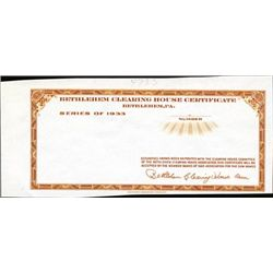 U.S. Bethlehem Clearing House Certificate Proof.