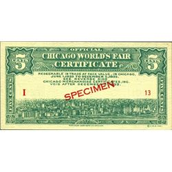 Chicago World's Fair Specimen Certificates (3)