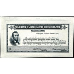 Wilmington Delaware Clearing House Scrip- Lincoln
