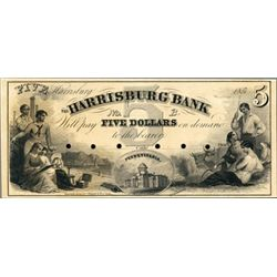 PA The Harrisburg Bank Proof Obsolete Banknote