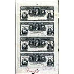 Argentina El Banco Nacional Uncut Proof Sheet.