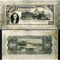 Argentina. Banco Prov.de Cordoba Printing Plates
