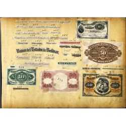 Colombia.   Early Banknote Proofs on Sample Page