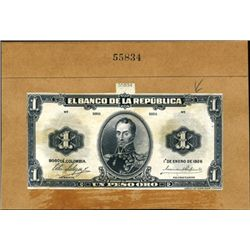 Colombia Banknote Proof Vignettes and Titles