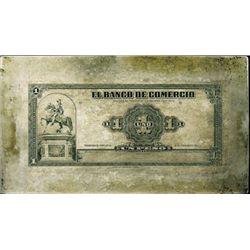 Honduras El Banco De Comercio Printing Plate.