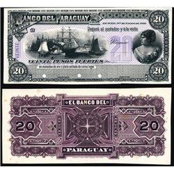 El Banco Del Paraguay Proof Banknote P-S129, 20 P