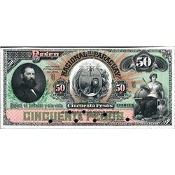 El Banco Nacional Del Paraguay Proof P-S150, 50 P