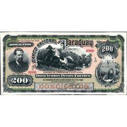 El Banco Nacional Del Paraguay Proof P-S152, 200 P