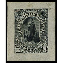 Bolivia. 1893 Allegorical Woman and Condor Essay