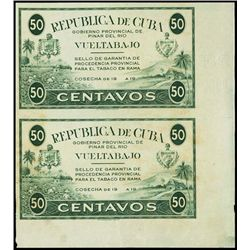 Republica De Cuba, Vueltabajo Proof Revenue Stamp