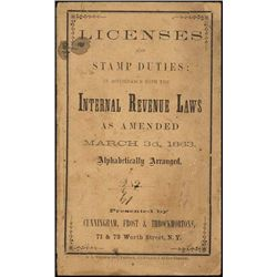 U.S. Licenses and Stamp Duties Booklet 1863.