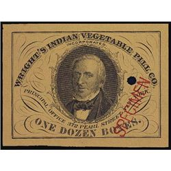 Wright's Indian Vegetable Pill Co. Specimen Label