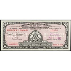 U.S. NY. U.S.P. Savings System Series 1917 Notes.