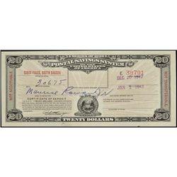 U.S. Postal Savings Certificate - South Dakota.