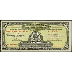 U.S. Postal Savings Certificates - Series 1917.