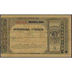 U.S.Postal Note. 1886, $2.00 Moorhead, Minnesota