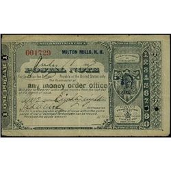 U.S.Postal Note. 1887, $1.88 Milton Mills, NH.