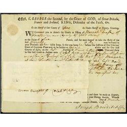U.S. MA. Colonial Document w/ RM3 IR