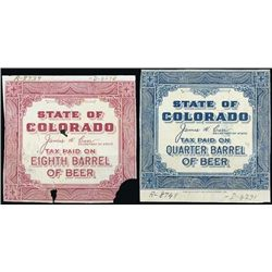 U.S. C). State of CO Tax Paid Beer Stamp Proofs.