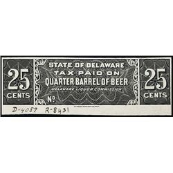 DE Tax Paid Beer & Wine Stamp Prfs in Black.