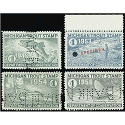 U.S. MI. Department of Conservation Trout Stamps.