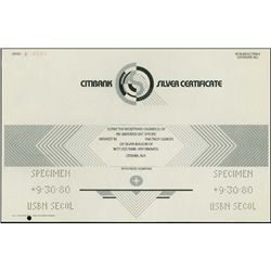 NY. Citibank Silver Certificate for Silver Bullio