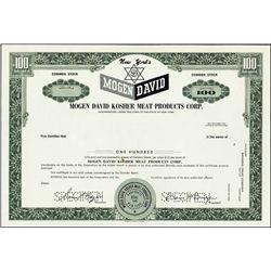 Mogen David Kosher Meat Prod. Corp. Spec. Certs