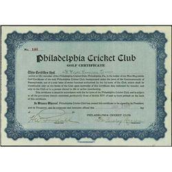 PA.  Philadelphia Cricket Club - Golf Certificate