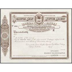 Argentina. Argentine Great Western Railway Co. Lt