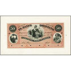Bolivia. El Banco Boliviano Proof Banknote.
