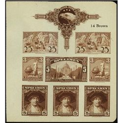 U.S. ABNC  Specimen  Stamp Sheetlet of 8 Prfs