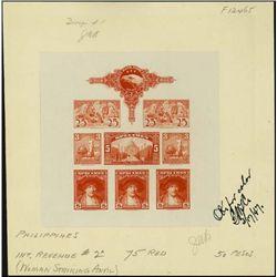U.S. ABNC  Specimen  Stamp Sheetlet of 8 Prfs