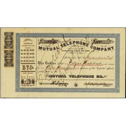 Hawaii. Mutual Telephone Co. w/ Hawaii Rev Stamps
