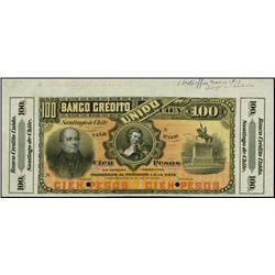 Chile. Banco Credito Unido Specimen Banknote