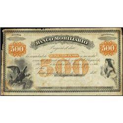 Chile. Banco Mobiliario Banknote Specimen Banknot